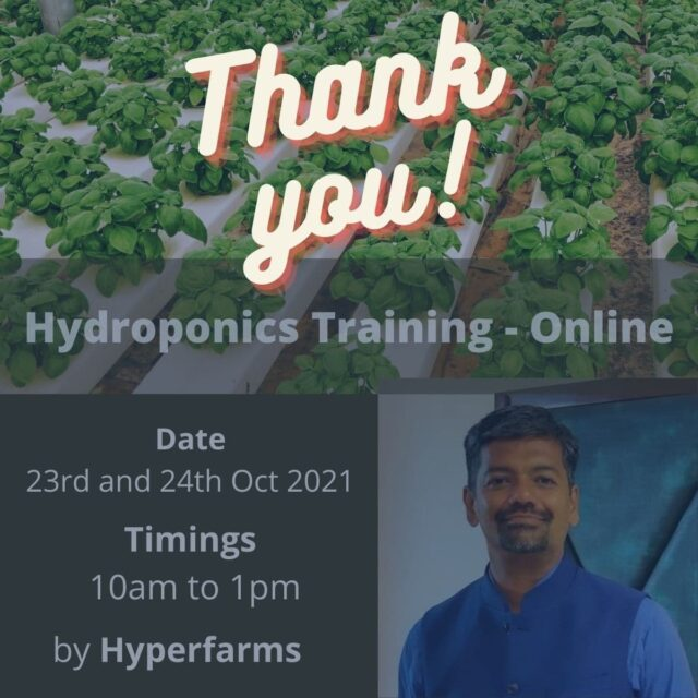 Weekend well spent!   Thanks to all the attendees for the overwhelming response and support.   Thanks for your valuable feedback  It was fun meeting and spending great time with the attendees of our very first online training on Hydroponics.   I used to always prefer classroom training over virtual due to the lack of hands sessions. But in this online training we ensured no one felt it. We had couple of practical demonstration followed by Farm tour of a commercial farm in Hyderabad which is setup by Hyperfarms.   You guys had been a wonderful bunch.   Till next time! Happy farming.  . . . . . #hydroponictraining #hydroponicworkshop #hydroponicgarden #hydroponicfarming #hydroponicculture #hydroponicindia #workshops #zoomtraining #agritech #agtech #horticulture  #hydroponicsystem #greenhousegrown #plantaseedday #foodsecurity #iamamodernfarmer #modernfarming #growers #urbanagriculture #growingfood #realfood #cleaneating #plantbased